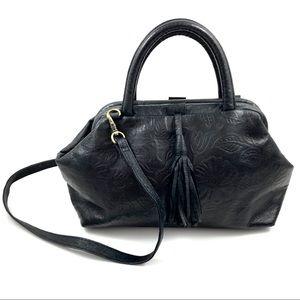 Vintage floral embossed black leather bag